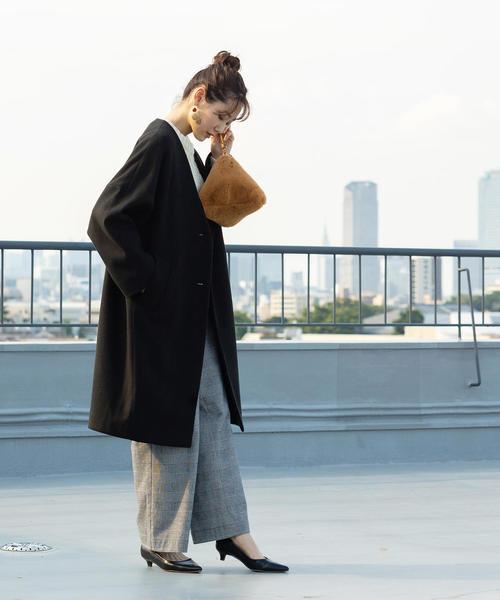 [coen] 【WEB限定カラー:ブラック・ナチュラル】ジャージメルトンVネックノーカラーコート