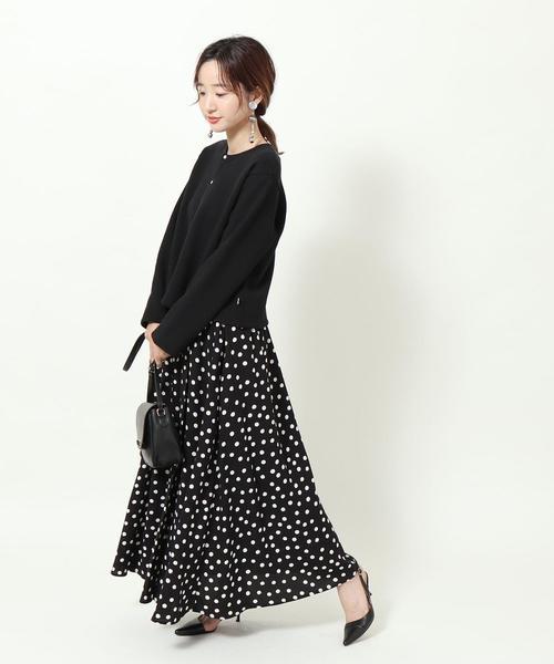 [coen] 【新色入荷/WEB限定カラー】プリントタックロングスカート