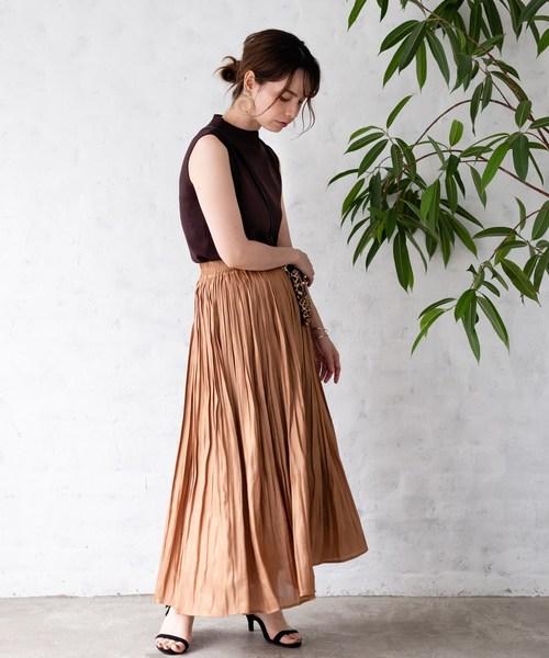 [TIENS ecoute] 【WEB限定】シャイニーサテンスカート