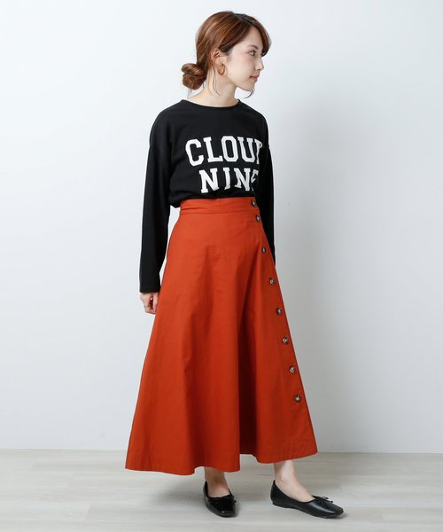 [Ray Cassin] 脇ボタンチノロングスカート