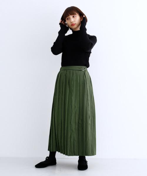 [merlot] ギンガムチェック柄ウエストベルトプリーツスカート8792