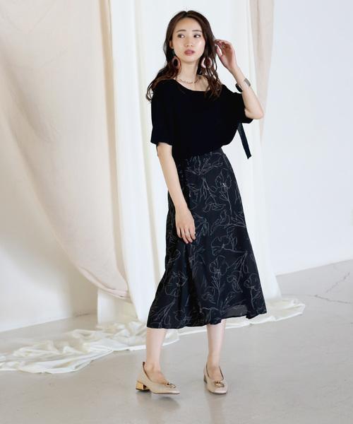[Bou Jeloud] 繊細な柄で合わせやすい◆アートフラワーフレアスカート