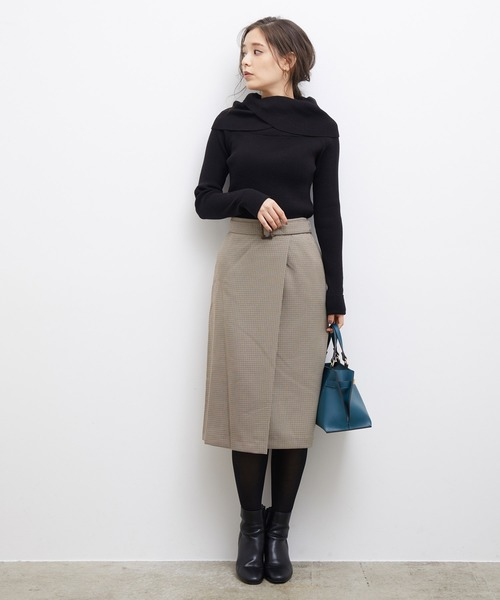 [ROPE' PICNIC] プレミアムフィールチェックラップ風スカート
