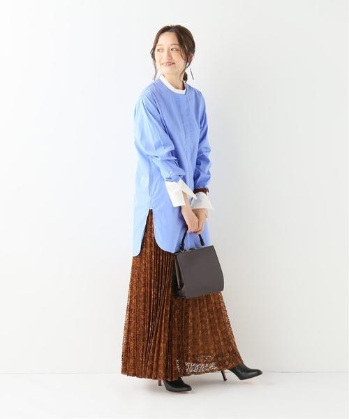 [IENA] バンドカラーロングシャツ◆