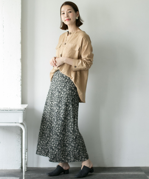 [URBAN RESEARCH ROSSO WOMEN] ノーカラーミリタリーシャツ