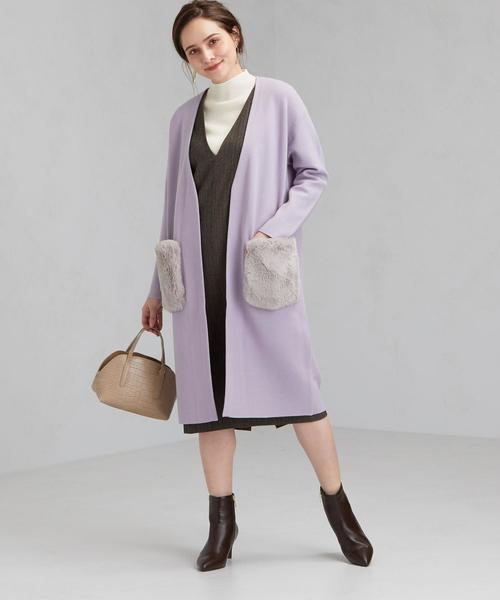 ジャンパースカート×紫カーディガン