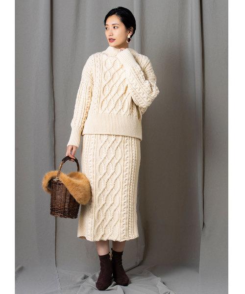 [tocco closet] 【yokoさんコラボ】ケーブルニットタイトスカート
