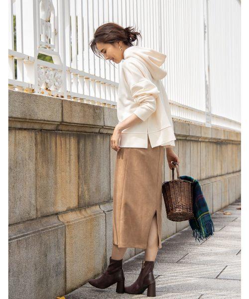 [tocco closet] スウェードフロントスナップタイトスカート