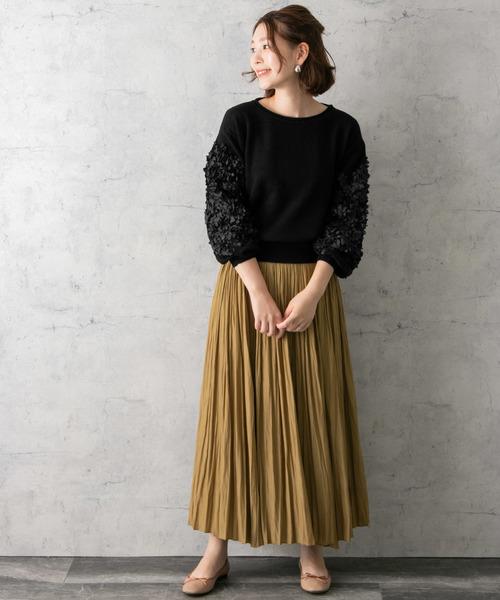 [URBAN RESEARCH ROSSO WOMEN] 袖刺繍ニットプルオーバー
