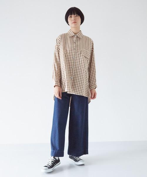 [Fillil] ギンガムチェック オーバーサイズシャツブラウス