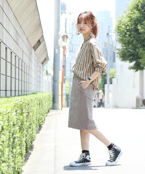 [coen] 【WEB限定】アムンゼンバンドカラーストライプシャツ