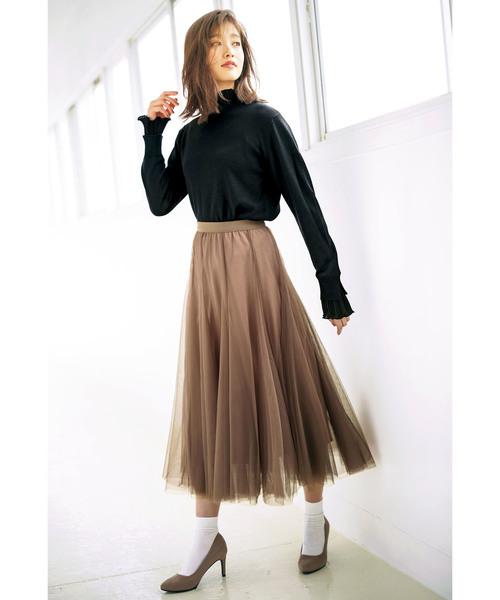 [GeeRA] 【19冬新着】フレアーチュールロングスカート