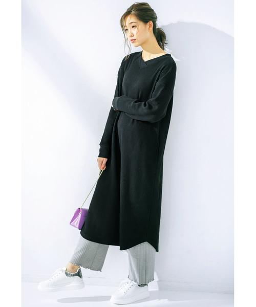 [GeeRA] 【19冬新着】ワッフル素材Vネックワンピース