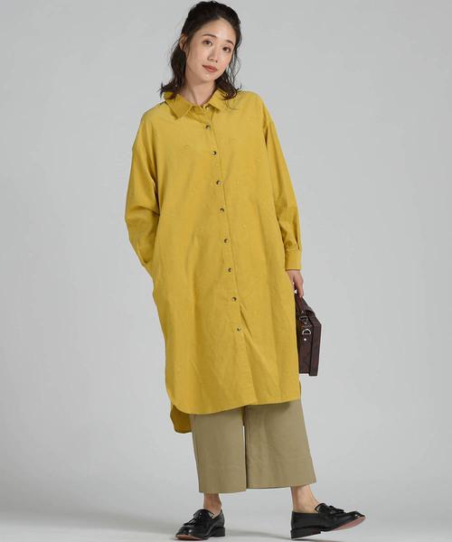 [MAYSON GREY] コールテンスター刺繍シャツワンピース