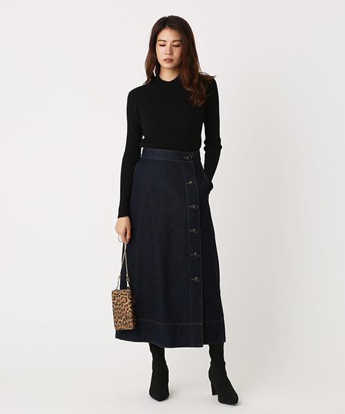[AZUL BY MOUSSY] FRONT BUTTON DENIM LONG SKIRT/フロントボタンデニムロングスカート