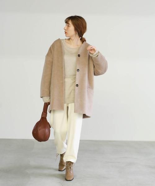 [select MOCA] 中綿キルティングビスコースノーカラーコート/ルーズシルエットドロップショルダーアウター