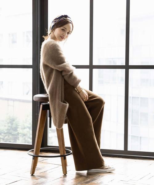 [kobelettuce] 【WEARISTA田中亜希子さん×KOBE LETTUCEコラボ】ミラノリブニットフレアワイドパンツ