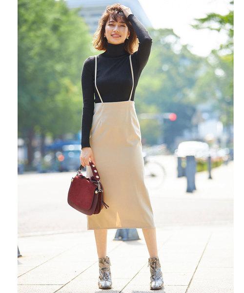 [tocco closet] ピーチスキンサスペンダー付きタイトスカート