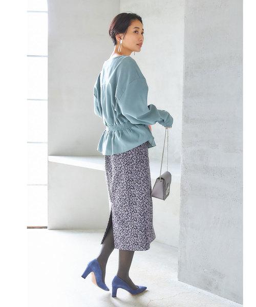 [tocco closet] レオパード柄ストレッチスエードタイトスカート