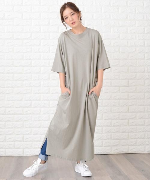 [Lace Ladies] シンプル無地半袖ロングTシャツワンピース