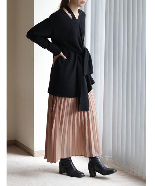 [HER CLOSET] 【vingtrois】▼一着でお洒落に決まる▼カットスリットアシンメトリー結びデザインニット