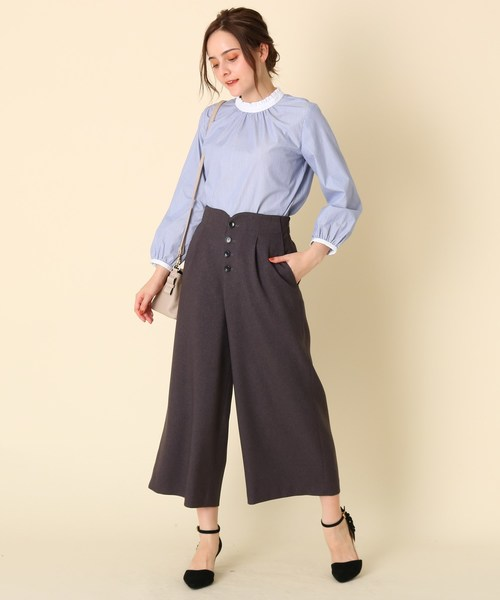 [Couture brooch] 【WEB限定プライス/手洗い可】フリルネックストライプブラウス
