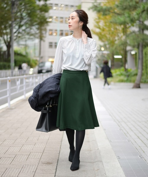 [La TOTALITE] デシンストライプギャザーシャツ【手洗い可能】◆