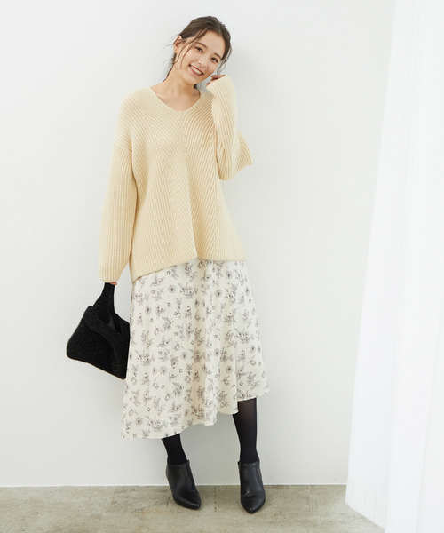 [ROPE' PICNIC] ワンタックフラワースカート
