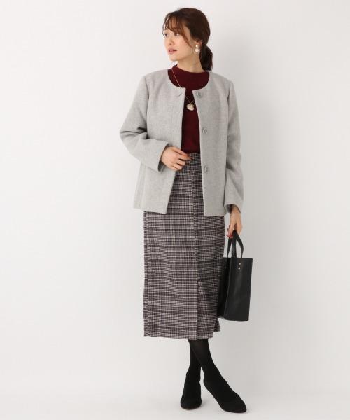 [GLOBAL WORK] ウールブレンドストレッチタイトスカート/854002