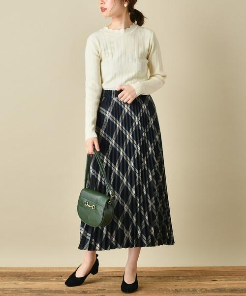 [natural couture] チェックプリーツスカート