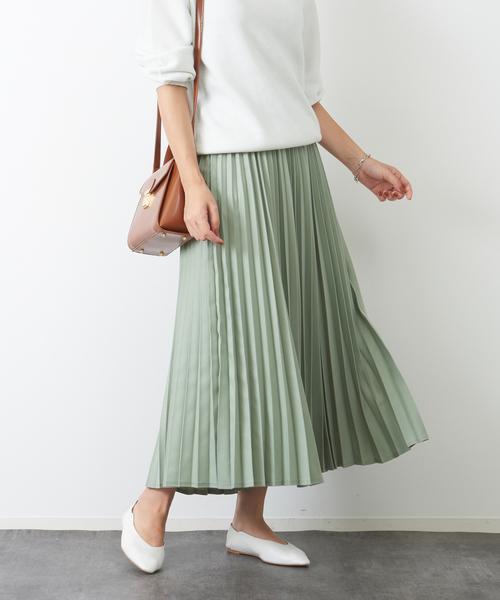 [Rouge vif la cle] ドビーシャンブレープリーツスカート
