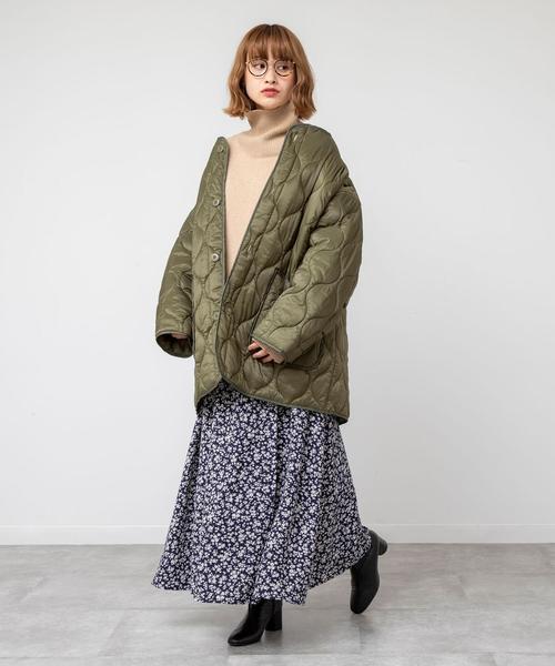 [coen] キルティングビッグジャケット(コート/アウター/中綿)