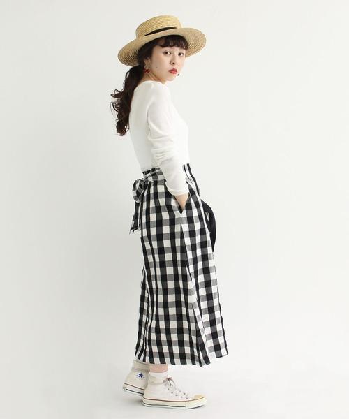 [Dot&Stripes CHILDWOMAN] ギンガムワッシャー Aラインスカート