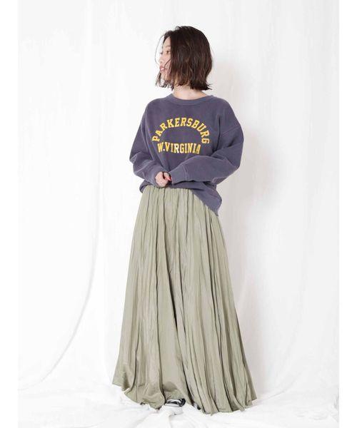 [Ungrid] ソフトリンクルサテンマキシスカート