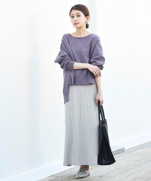 [CIAOPANIC TYPY] 手編みライクワイドリブスリットスカート