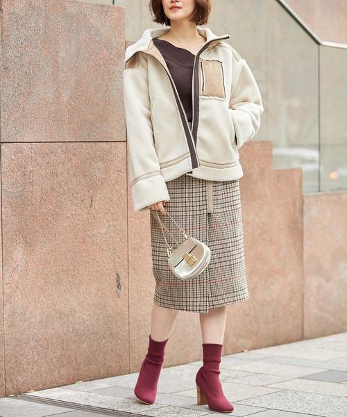 [tocco closet] 起毛チェックラップタイトスカート