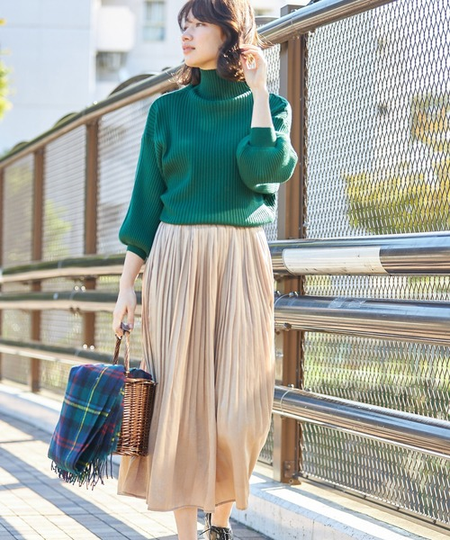 [tocco closet] ビンテージサテン消しプリーツスカート