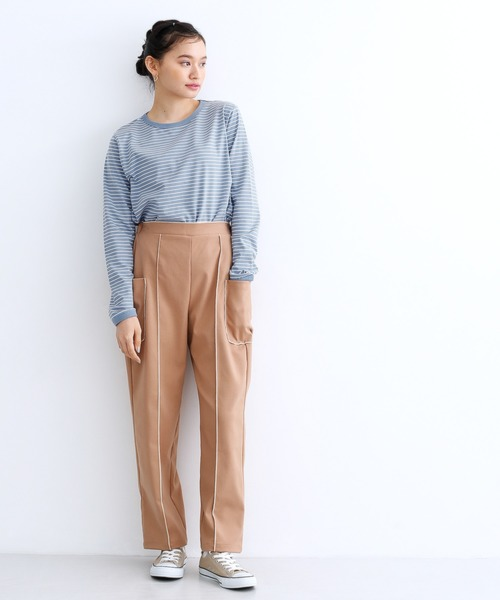111111[merlot] 配色パイピングボーダーロンTシャツ3625