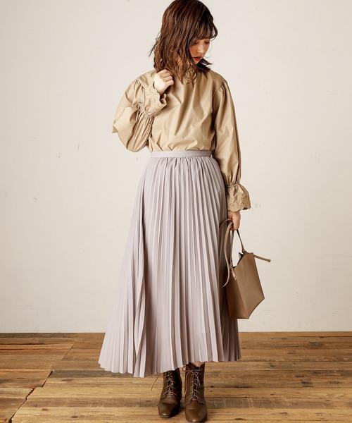 [natural couture] スタンドカラーレースカフスブラウス