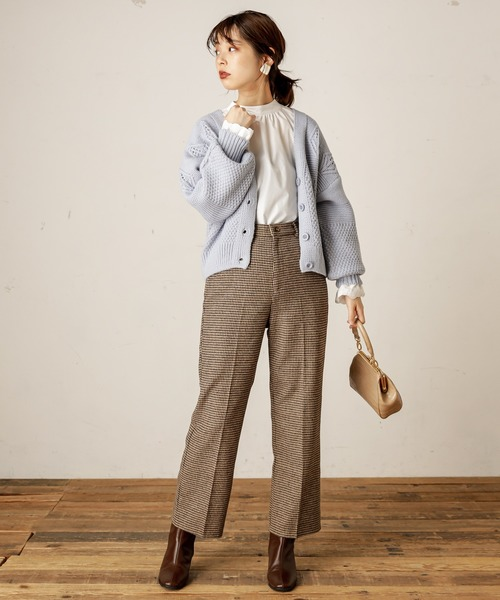 [natural couture] 柄編みショートカーディガン