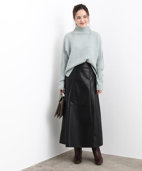 [ViS] 【ZOZOTOWN限定】エコレザーフレアスカート