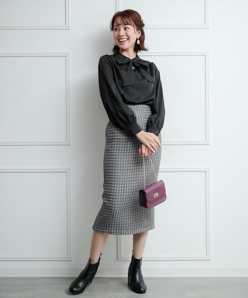 [clear] チェックツイードタイトスカート