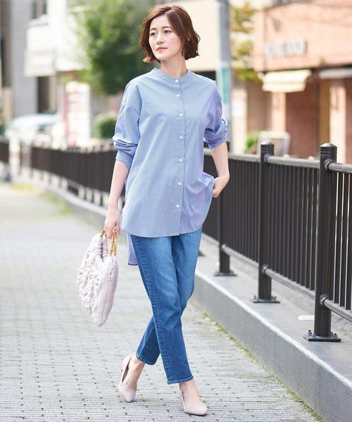 [RIVE DROITE] ストライプブロードチュニックシャツ