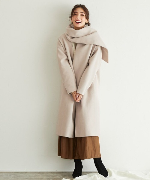 [Pierrot] メルトンストール付きノーカラーコート