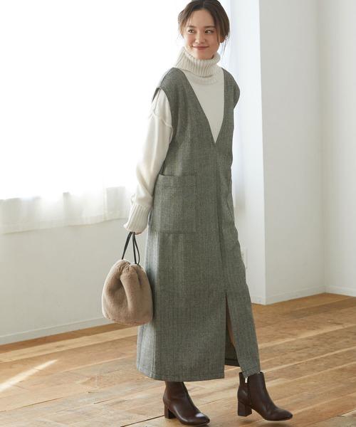 [ViS] 【WEB限定】ヘリンボーンジャンパースカート