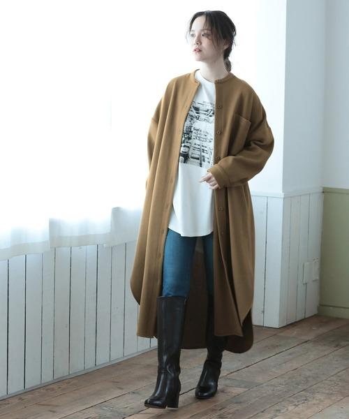[ViS] 【WEB限定】フェイクウールスタンドカラーシャツワンピース