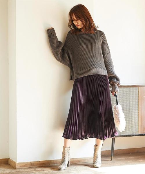 [titivate] シャイニープリーツロングスカート
