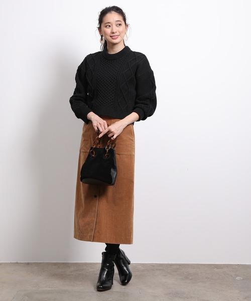 [ROPE'] シャンブレーコーデュロイタイトスカート