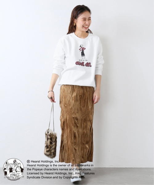 白スウェット×ロングスカート