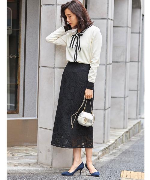 [tocco closet] エレガントレースミモレタイトスカート